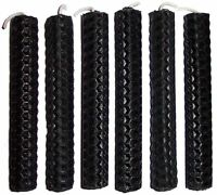 6 x 10cm (4 inch) BLACK BEESWAX CANDLES Protection, Curse Breaking, Banishing