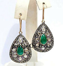 Natural Rose Cut Diamond & Polki Emerald 925 Sterling Silver Earrings Jewelry