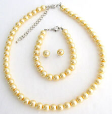 Stunning Yellow Pearl Bridesmaid Jewelry Set Necklace Earrings And Bracelet Set