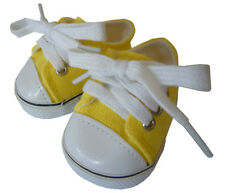 """Bright Yellow Canvas Sneakers Gym Shoes fits 18"""" American Girl Doll Clothes"""