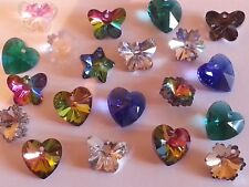 New 14MM Faceted Glass Mixed Color Pendants Hearts Snowflakes 4PC Butterfly