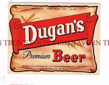 Unused 1950s Dugan's Beer PINT Worcester Label Tavern Trove Massachusetts