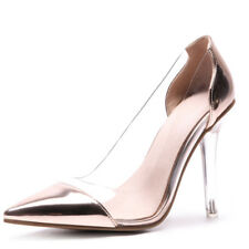 New Women Sexy High Heels Pointed Toe Crystal Clear Party Pumps Shoes Size 33-47