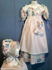 Civil war, victorian, prairie, 4 pc girls dress set. Floral  Size 7/8