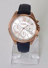 Fossil Damen Uhr Chronograph blau weiß gold römisch Leder Datum BQ3121