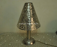 """Handcrafted Moroccan Silver Plated 22"""" Height Table Lamp Lantern Light"""