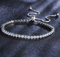 18K White Gold GP Tennis Bracelet made w/ Swarovski Crystal Shambella Bracelet