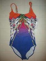 """GOTTEX """"Blue""""  Orange Ombre Iris Floral 1 Pc Square Neck Tank Swimsuit Sz 14 NWT"""