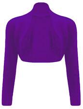 Womens Ladies Long Sleeve Cropped Party Top Bolero Plain Shrug Plus Sizes