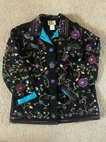 THE QUACKER FACTORY Beaded Embroidered Black Jacket Butterflies Flowers ~ Size M