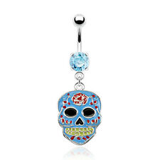 Sugar Skull Epoxy Dangle Surgical Steel Navel Belly Button Rings 14g