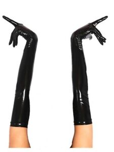 Latex Rubber Black elbow mid-length five-finger gloves S-XL 0.4mm