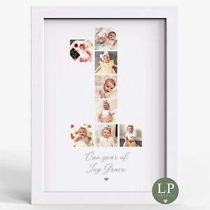 Personalised photo Baby's first birthday gift one year old baby present