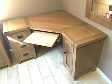 SOLID OAK CORNER COMPUTER DESK - FREE DELIVERY
