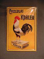 PLAQUE METAL bombée COLLECTOR chocolat cacao KOHLER COQ