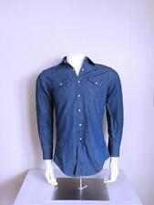 vtg 60s WRANGLER indigo denim pearl snap western CHAMBRAY 15 32 work chore shirt