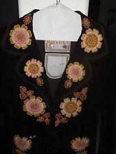 JOYSTICK Brown Cotton Floral Embroidered Jacket Medium SO SEXY coat blazer Funky