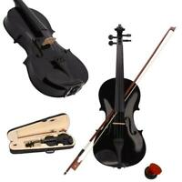 Black Basswood 4/4 Adult Acoustic Right Handed Violin w/ Case Bridge Bow Rosin