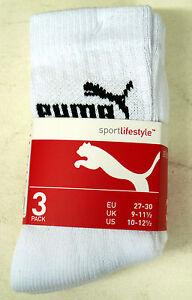Puma 3 x Pairs Junior Sports Socks 9-11.5 12-1.5 UK White Pink Blue Black