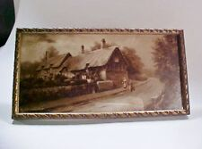 Lot #2: Framed Print, Ann Hathaway's Cottage by Elmer Keene Sepia,  early 1900s