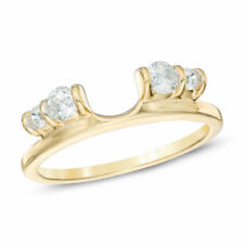 Over Round Cut Engagement Wedding Ring 1.00 Ct Enhancer Wrap 14K Yellow Gold