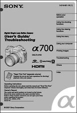 Sony Dslr Alpha A700 Digital Camera User Guide Instruction Manual