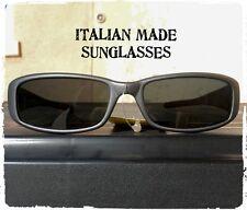 OCCHIALI DA SOLE UOMO SUNGLASSES VINTAGE RETTANGOLARE GRIGIO OPACO MADE IN ITALY