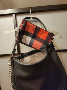 Thirty One Jewell Hobo Black Pebbled Leather Purse Plaid Pouch & wristlet chain