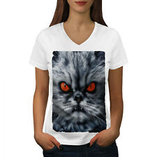 8236e948 Wellcoda Persian Cat Angry Funny Womens V-Neck T-shirt, Angry Graphic Design