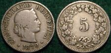 SCARCE DATE 1879 5 RAPPEN SWTZERLAND**BOOK VALUE-VF-$22.50us, sell-$14.50ca