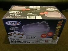SATCO Plastic Heavy Duty Food Storage Containers+Lids 250x650ml Full Box Strong