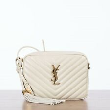 SAINT LAURENT 1250$ LOU Monogram Camera Bag In Vintage White Quilted Leather