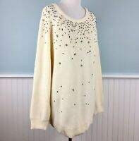 SIZE 1X INC Ivory Jeweled Beaded Bling Tunic Sweater Top Women's Plus NWT New