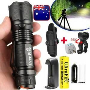 Tactical J5 Military Zoom 250000LM XML Zoom T6 LED Flashlight Torch Headlamp AU
