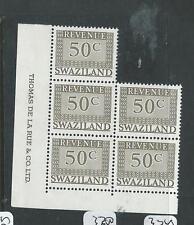 SWAZILAND (P1907B) MODERN REVENUE 50C DE LA RUE IMPRINT BL OF 5  MNH