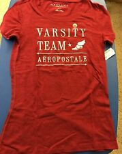 AEROPOSTALE Womens T-Shirt Burgundy Embroidered Team Design Size Medium NWT