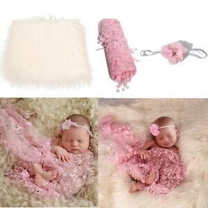 Newborn Photography Prop Baby Swaddling Wrap Blanket Flower Headband Set Studio