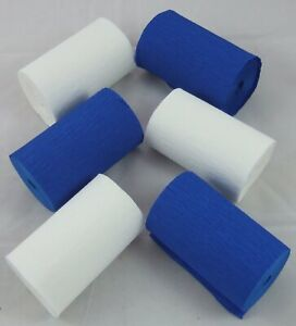 3 Blue  3 White Wide Crepe paper Streamers 80mm x 10metres quauliy decoration
