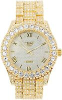 Men Iced Watch Fully Bling Rapper Club Lab Simulate Diamond Band Luxury Gold Hot