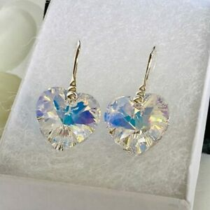 Heart Earring 14mm Jewellery Aurore Boreale Silver Made With Swarovski® Crystal