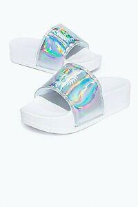Just Hype Sliders Sandals Girls Kids Open Toe Slip On Holo Silver Size 3-8 BNIB