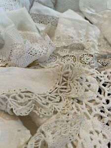 Antique 25 pc Lace Net Linens Crochet Madeira Runners Doilies Throws Cut Work