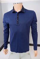 Hugo Boss Blue Stripped  Polo Top Long Sleeve Size M Medium P2P 21.5 Inches VGC