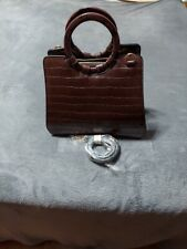 NWT Imoshion Brown Croc Embossed Faux Leather Satchel