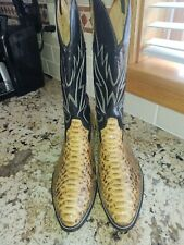 EUC Tall Unbranded (Mexican) Cream Python Skin Cowboy Boots - US Size 12 D (Men)