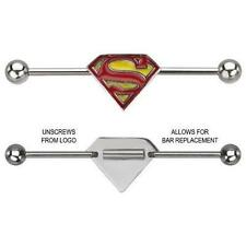 """Industrial bar Surgical Steel Superman 1 1/2"""" 14g Super man [Jewelry]"""