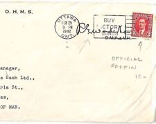 SS317  Canada WW2 Cover 1942 *OFFICIAL PERFIN* Isle of Man IOM NATIONAL HEALTH