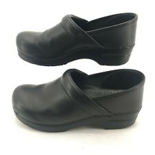 Dansko Pull Up Clogs Slip On Comfort Shoes Round Toe Leather Black Womens 40 W