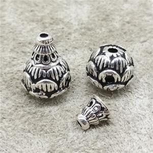 2pcs of 925 Sterling Silver Lotus Flower Mala Prayer Guru Beads for Bracelet