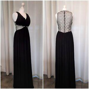 Quiz Black Silver Evening Cruise Ballgown Prom Dress Size 12 Brand New